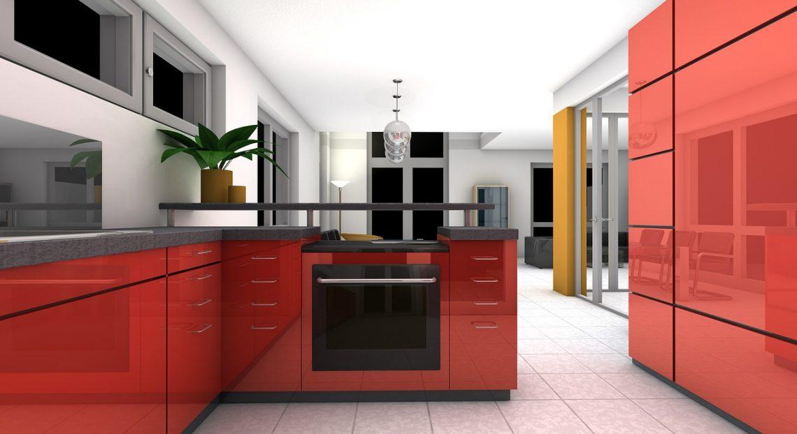 Décoration cuisine rouge gris simulation